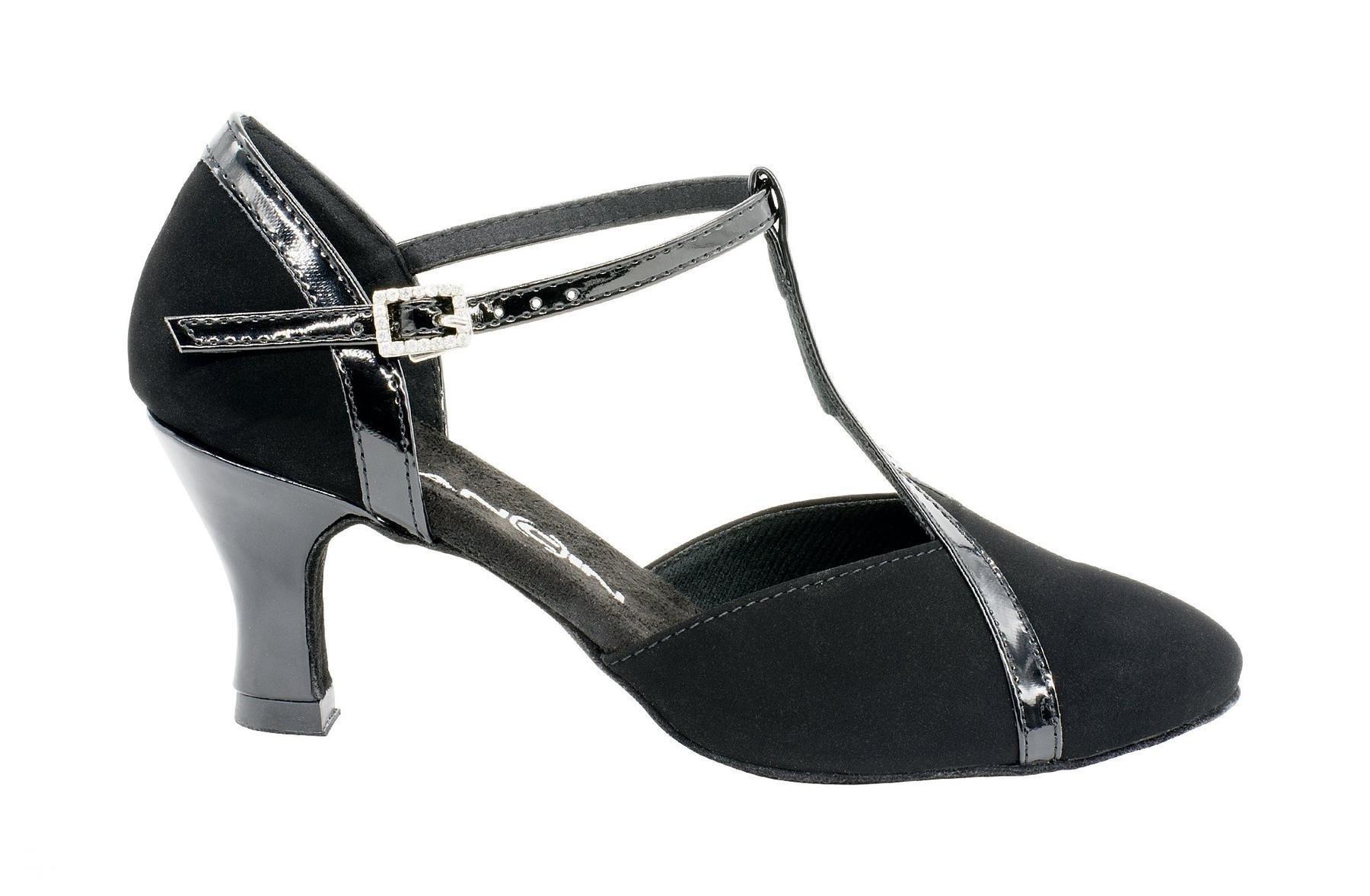 Dancin Scarpe da ballo punta chiusa in nabuck nero e vernice nera tacco 5,5 cm