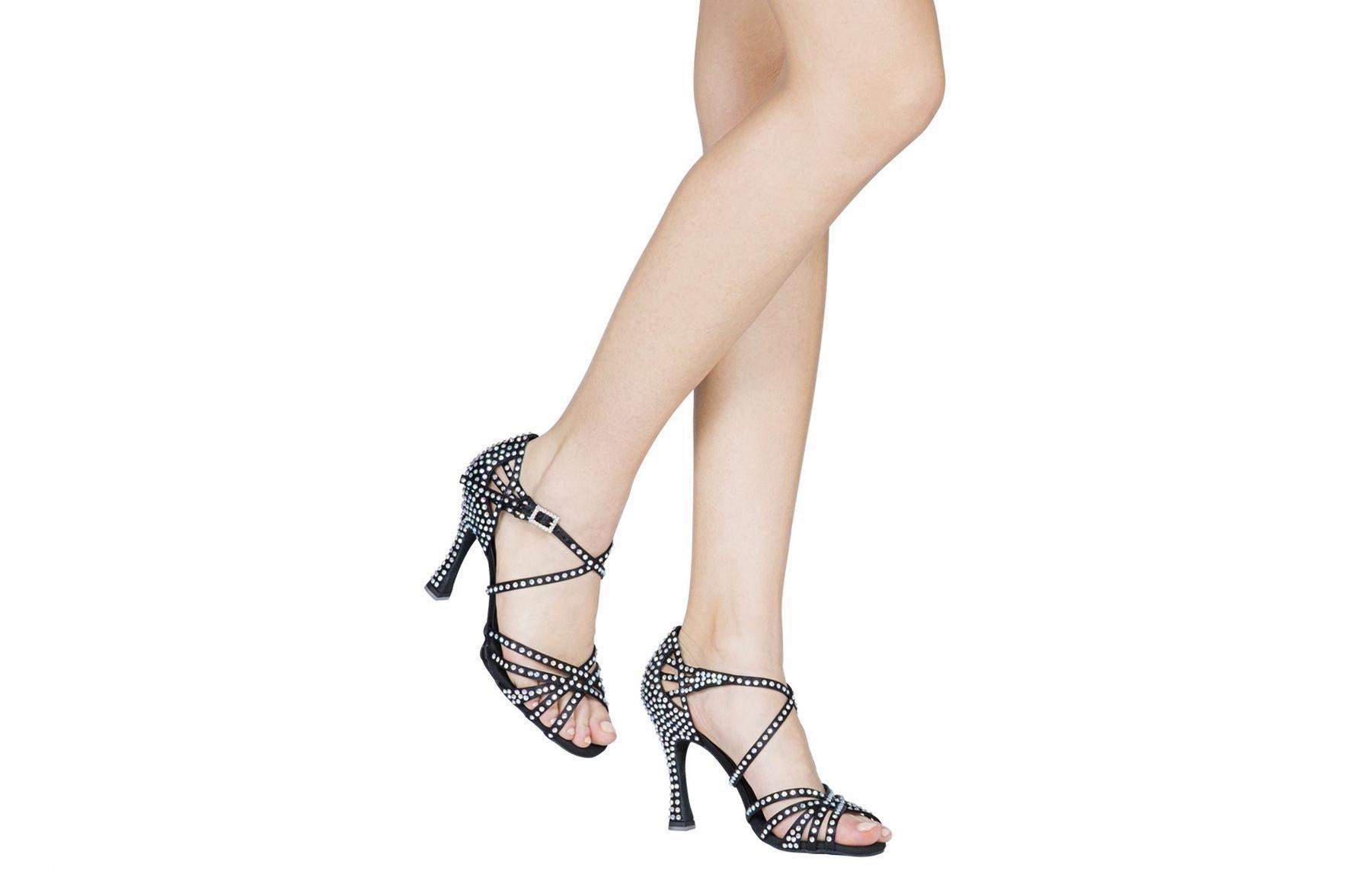 """Dancin Scarpe da ballo """"Silvia Accossato"""" in raso nero, 5 fasce tacco 10 cm"""