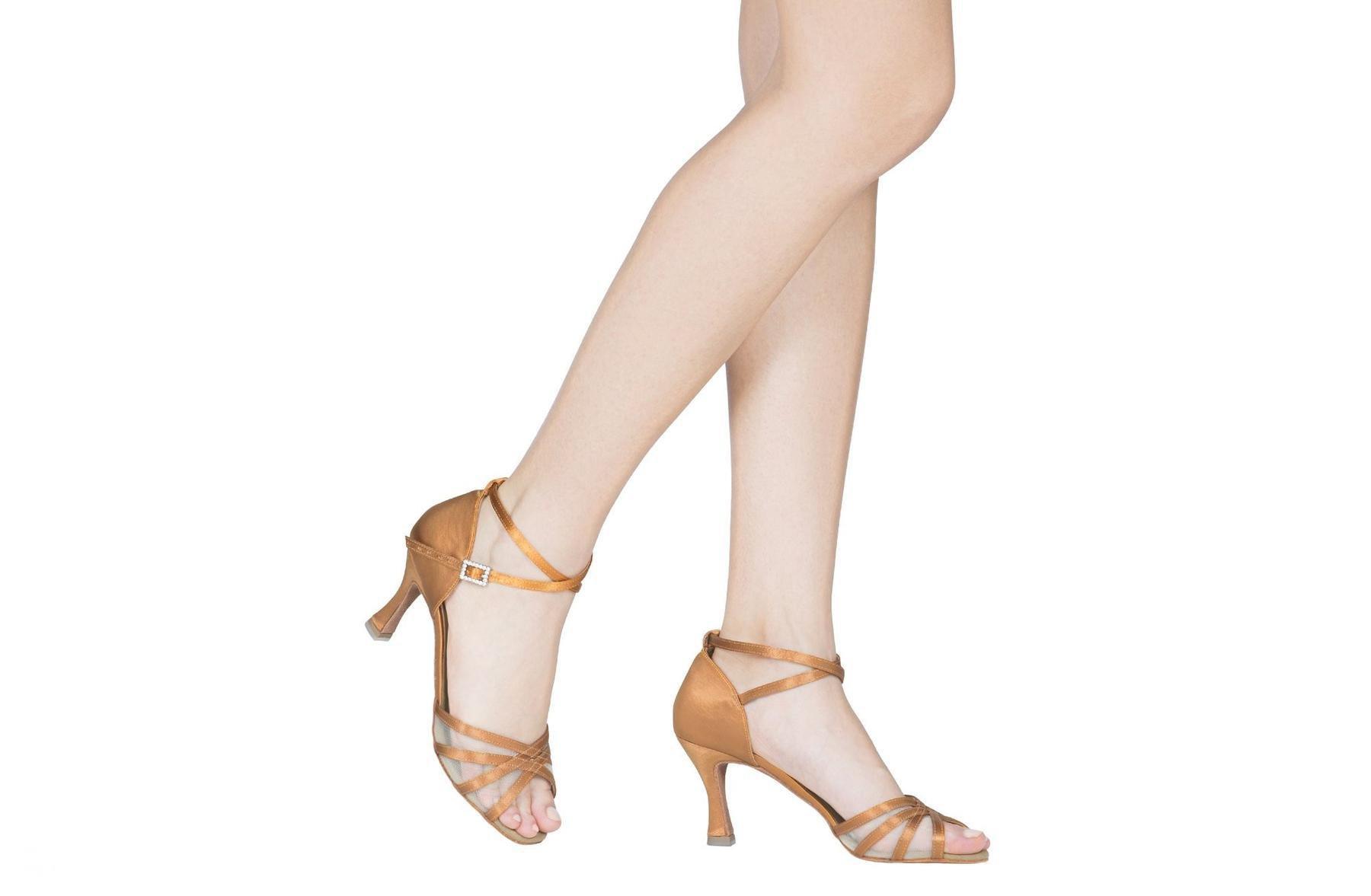 Dancin Scarpe da ballo donna rete raso flesh tacco cm 7,5