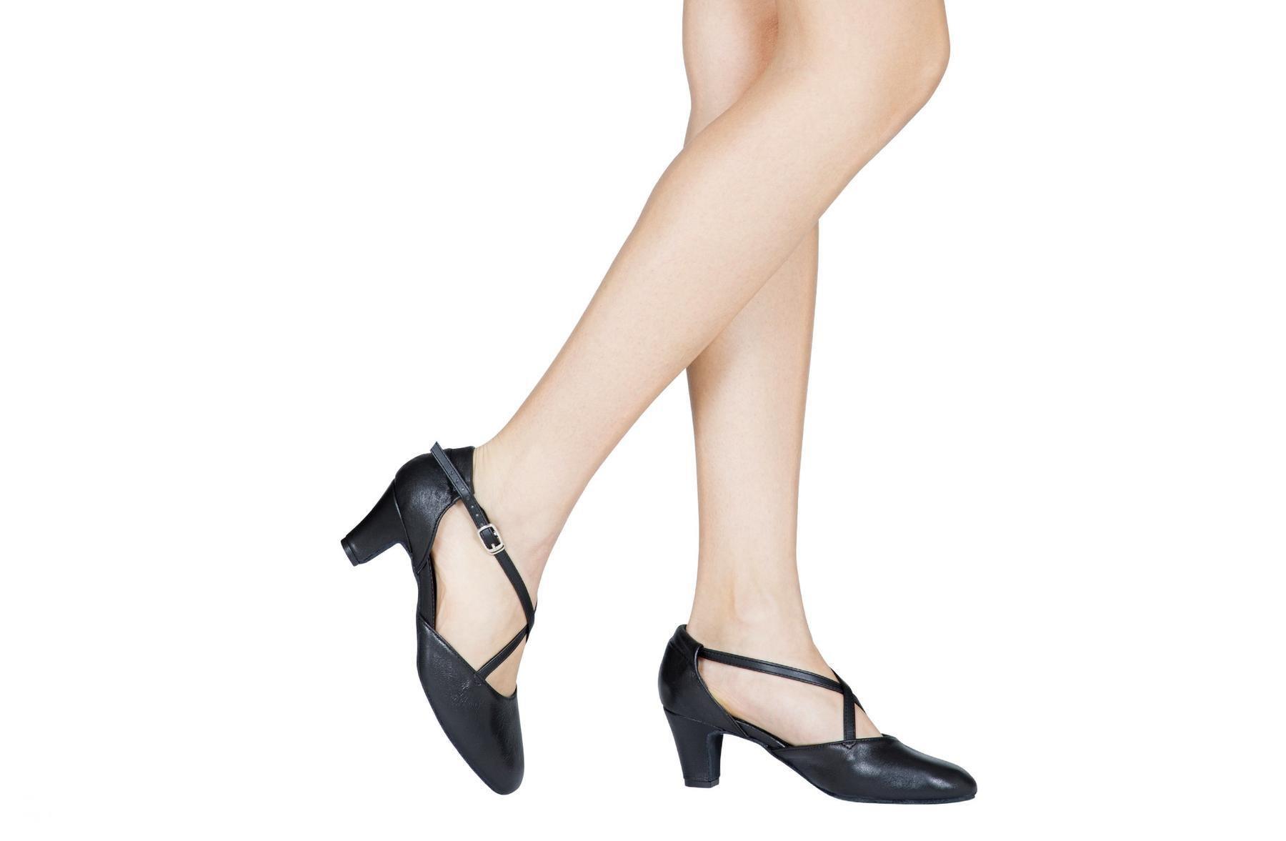 Dancing shoes and studio broadway (cuccarini) in black leather heel 5 cm