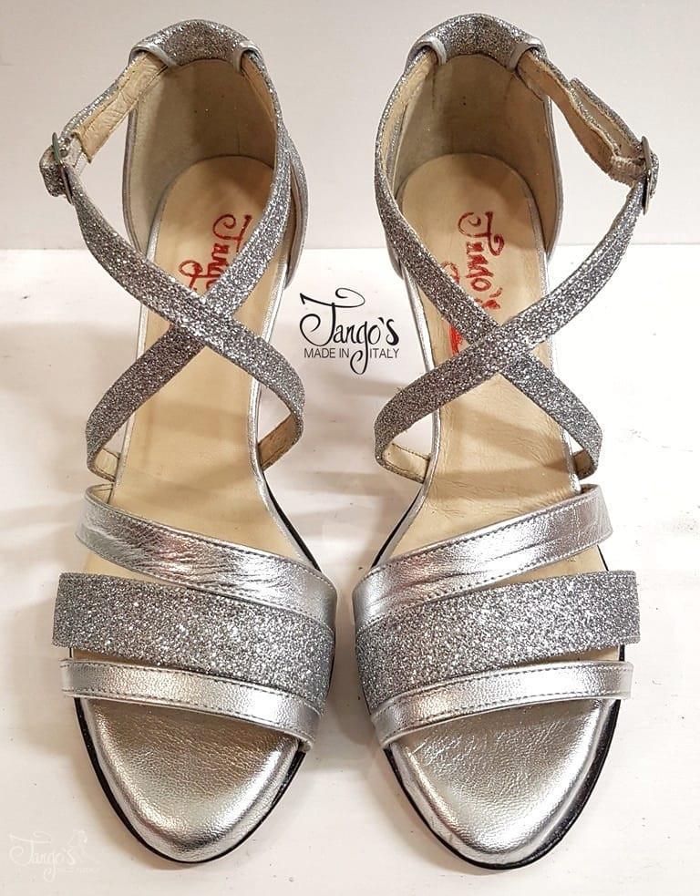 La Plata Argento Glitter Tacco 8,5cm