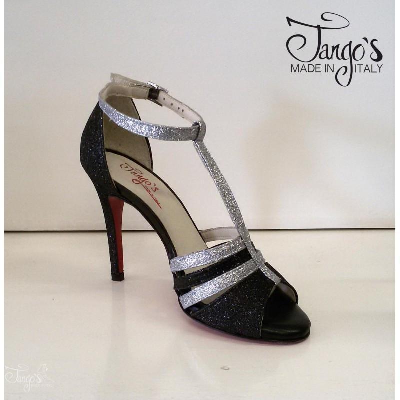 Sandalo Dorado Glitter nero e argento