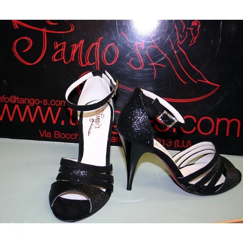 Sandalo Dorado nero camoscio e glitter