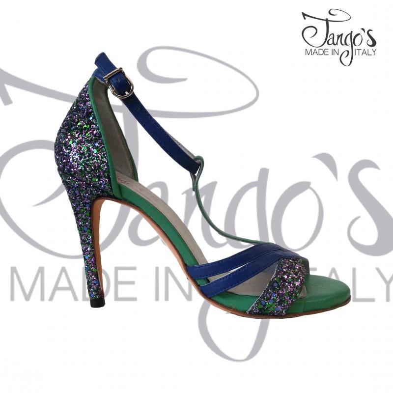 Sandalo La Cruz Glitter Verde e Blu