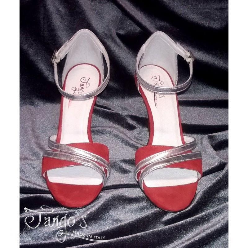 Sandalo La Cruz rosso e argento 2