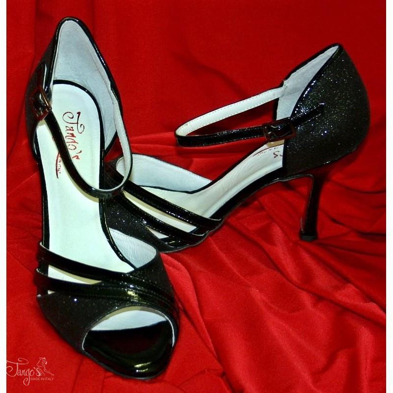 Sandalo la Cruz vernice nera e glitter