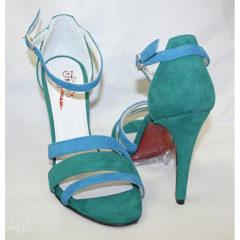 Sandalo La Plata azzurro e verde 2