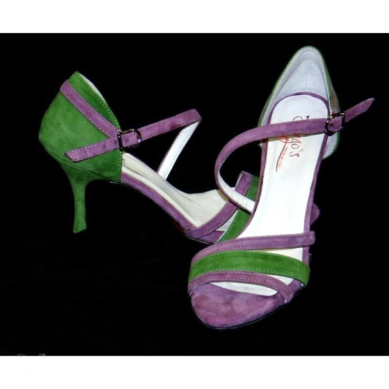 Sandalo La Plata glicine e verde
