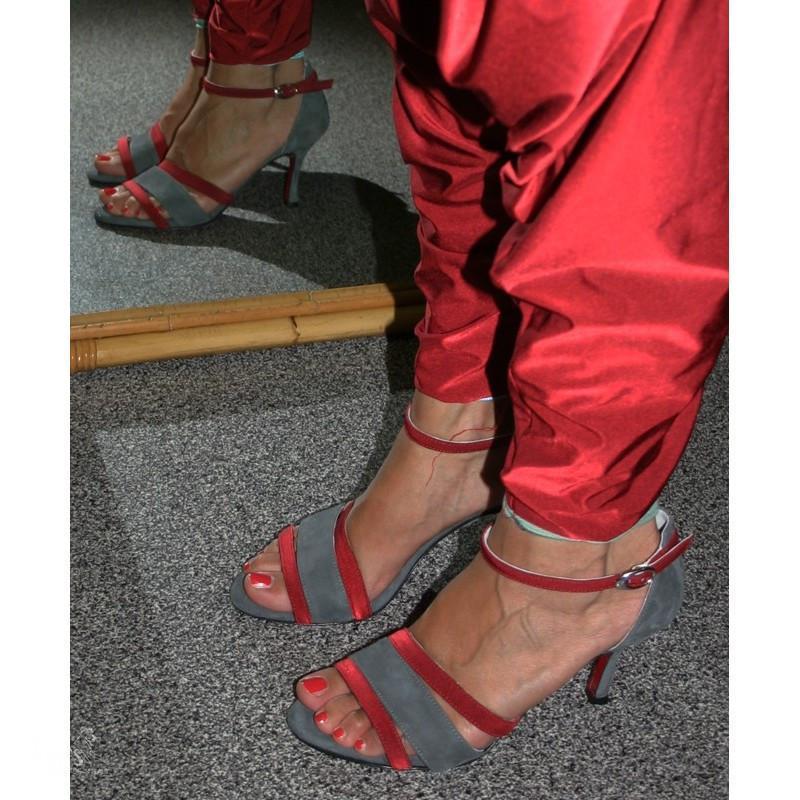 Sandalo La Plata grigio e rosso
