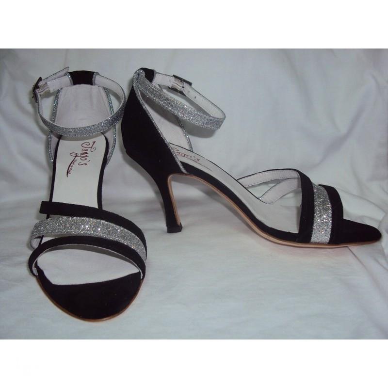 Sandalo La Plata nero e glitter 3