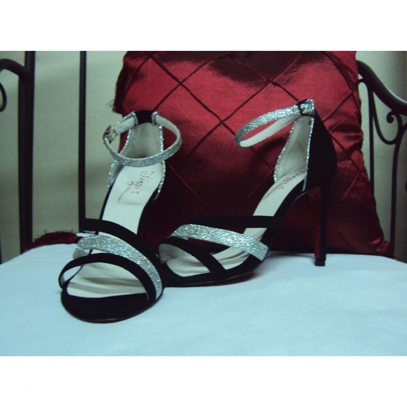 Sandalo La Plata nero e glitter