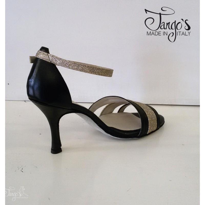Sandalo La Plata nero e glitter oro