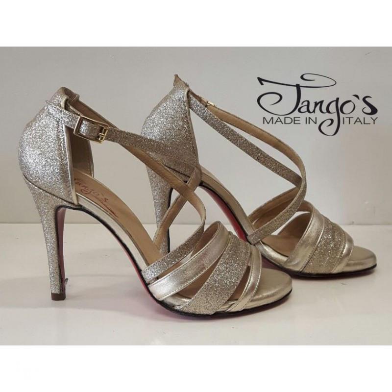 Sandalo La Plata oro e glitter