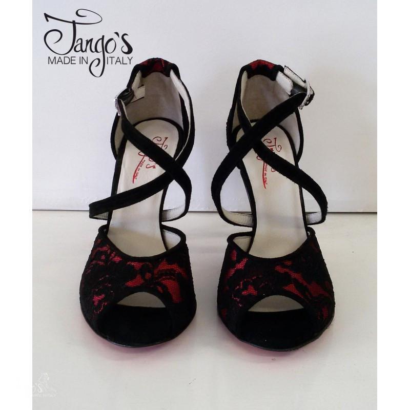 Sandalo Michelle pizzo nero e rosso