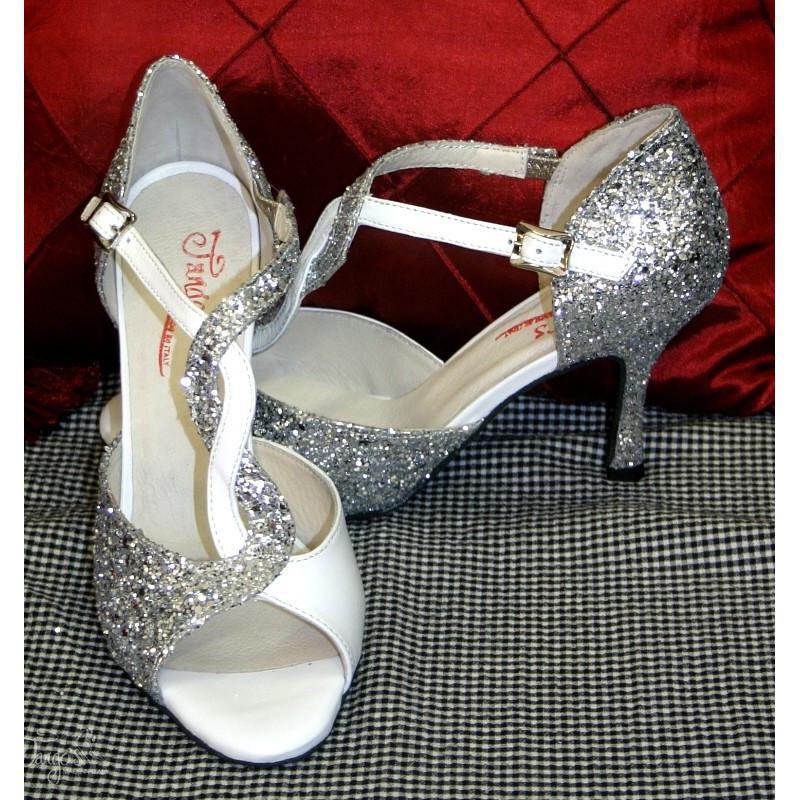 Sandalo Timote bianco e glitter argento