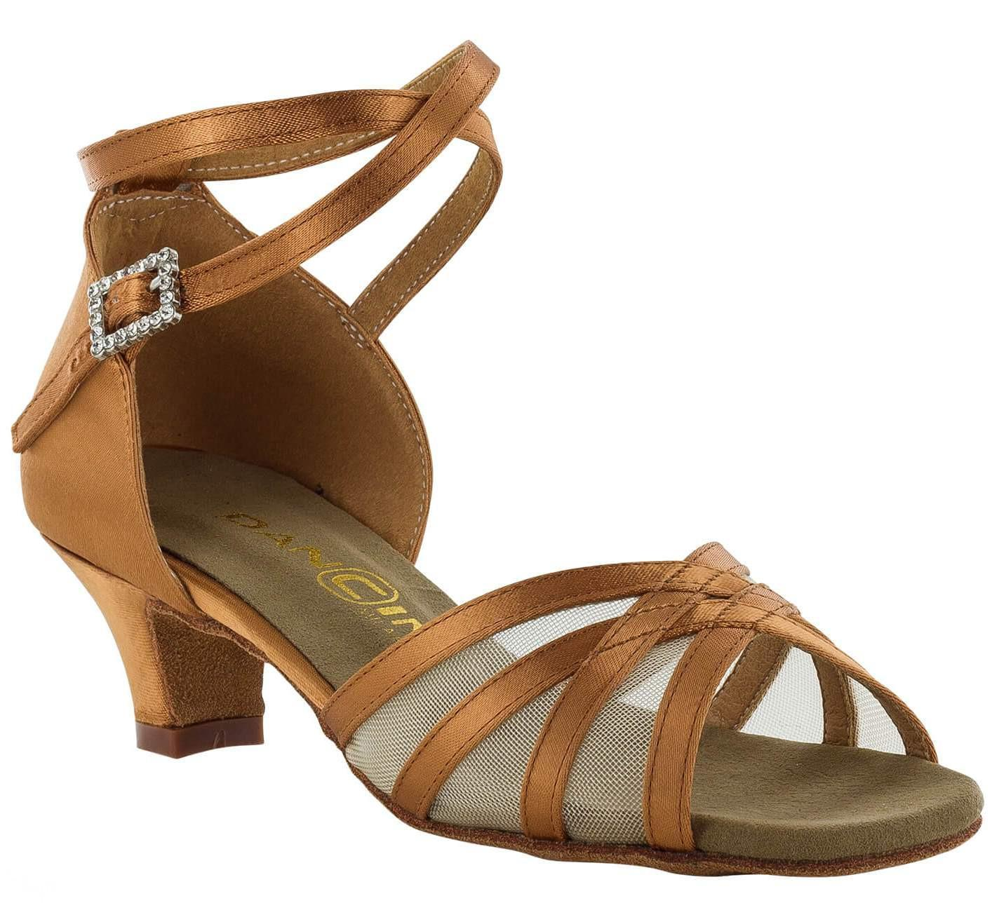 Dancin Scarpe da ballo in raso flesh 4 fasce con retina e incrocio sulla caviglia , tacco 3,5 cm