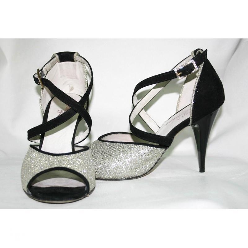 Tango Sandra camoscio nero e argento
